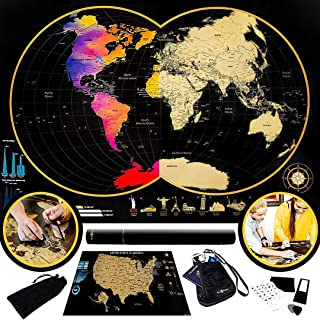 Large World Scratch Off Map - Small United States Scratch Off US Poster - Track Places Traveled and Visited - Deluxe Premi...