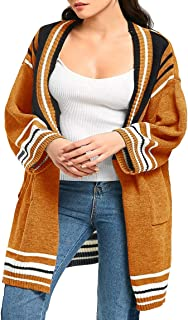 Lynwitkui Women's Plus Size Striped Cardigan Sweaters Fall Loose Open Front Long Sleeve Knitted Coat Outwear with Pockets