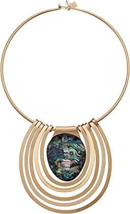 Robert Lee Morris - Abalone and Gold Round Wire Necklace