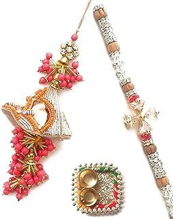 Shreeji bhai bhabhi rakhi for Raksha Bandhan rakhi for brother and sister-in-law with Roli Chawal combo 20124 7641