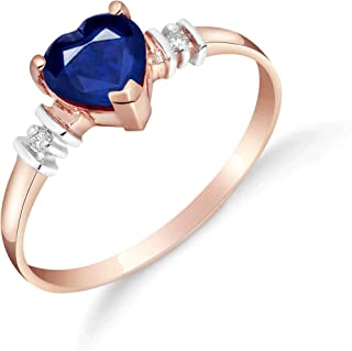 1.03 ct 14k Solid Rose Gold Ring with Genuine Diamonds & Natural Heart Shaped Blue Sapphire