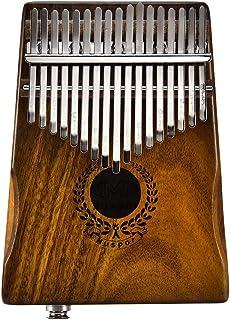 17 llaves piano de dedo, Mbira Calimba sólido Acacia pulgar Piano Kalimba regalo musical, enlace altavoz eléctrico con bolsa + cable 3M