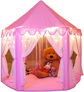 Monobeach Princess Tent Girls Large Playhouse Kids Castle Play Tent with 20 Feet Star Lights for Children Indoor and Outdo...