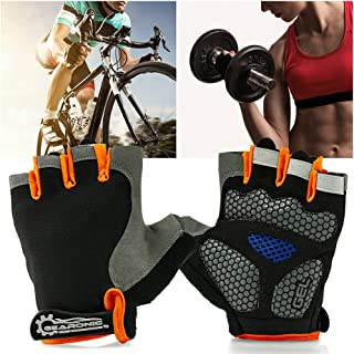 (orange, l) - GEARONIC TM Cycling half Finger Mountain Bicycle Men Women Gel Pad Anti-slip Breathable Outdoor Sports Shock-absorbing Riding Biking Cycle Gloves - Orange L