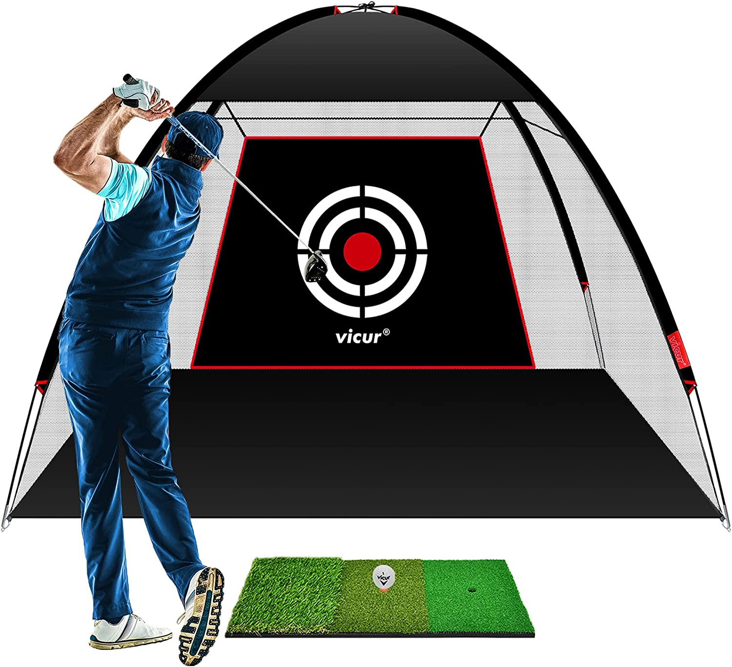 VICUR Golf Nets Golf Practice Net Golf Hitting Net 10x7 feet with Golf Hitting Mat & Golf Balls Packed in Carry Bag for Backyard Driving Indoor Outdoor : Sports & Outdoors
