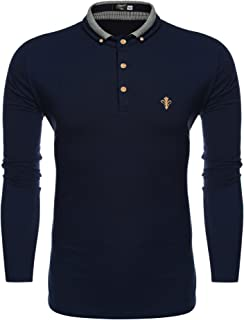 Men's Slim Fit Long Sleeve Polo Shirt Classic Business Casual Cotton T Shirts