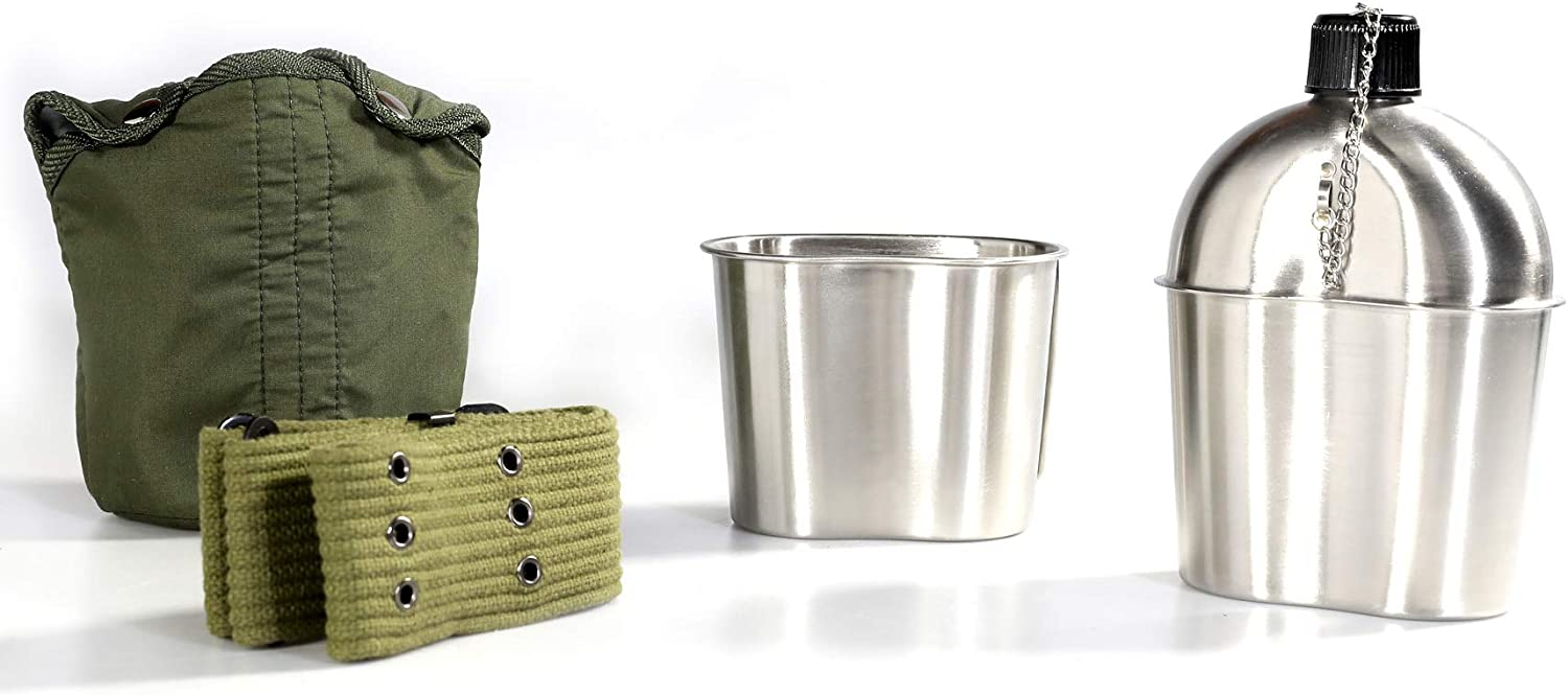 Pinty G.I. Army Stainless Steel Canteen Military with Cup and Green Nylon Cover Waist Belt for Camping Hiking (Cup with foldable handle B) : Sports & Outdoors