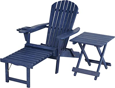 W Home SW2005NV-CL1ET1 Chaise Lounge Adirondack Chair and Table Set, Navy Blue