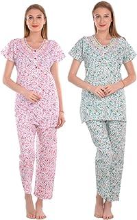 CIERGE Women's Cotton Fabric Comfy & Cozy Night Suit (Free Size)