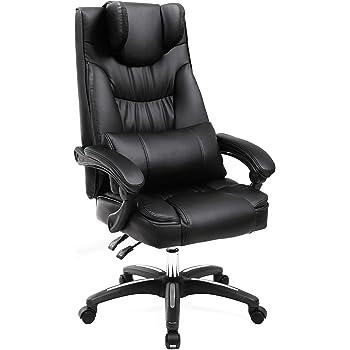 SONGMICS Erstellt, Bürostuhl mit klappbarer Kopfstütze extra großer orthopädischer Chefsessel ergonomischer Schreibtischstuhl schwarz, OBG76B