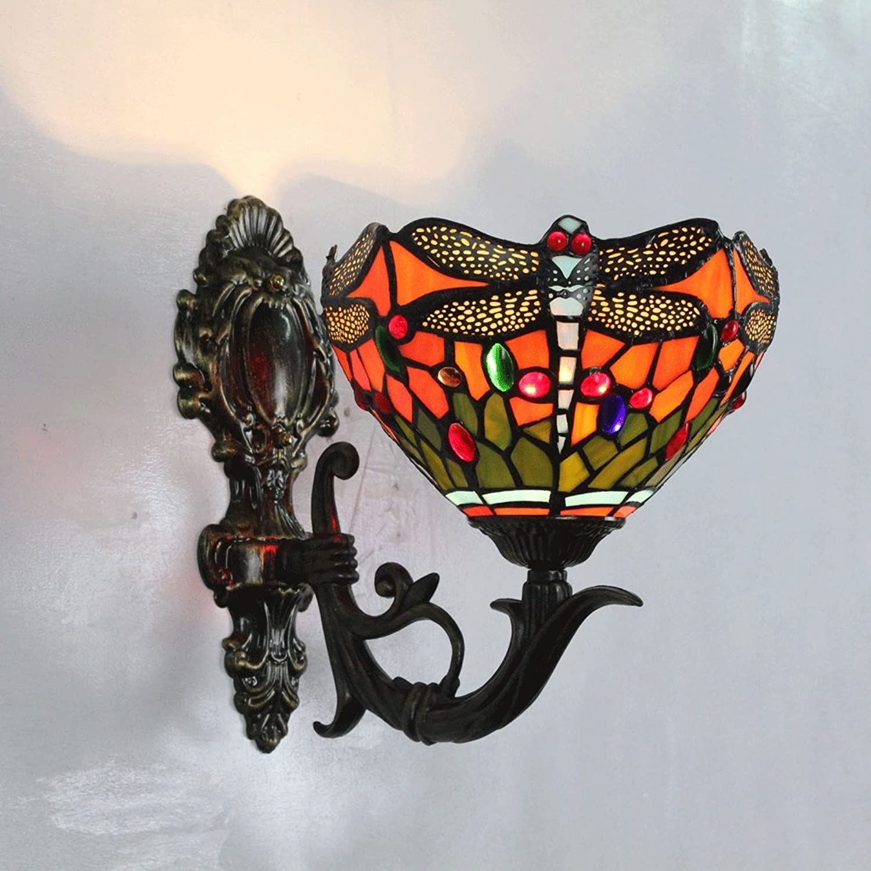 Gweat 8 Zoll Libelle Bunte Perlen Wandlampe Pastoralen Spiegel Lampe Gang Bedside warme Wandleuchte