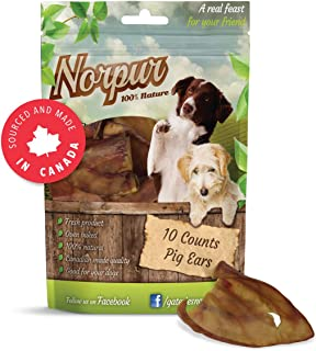Norpur Pig Ears All-Natural Dog Treats (10-Count), Slow-Roasted & Oven-Baked   Promote Healthy, Shiny Coats   Help Clean Teeth, Prevent Bad Breath   Made in Canada