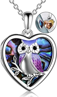 YFN Sterling Silver Owl lockets for women that hold pictures Heart Locket Necklace for Mom Wife Girlfriend
