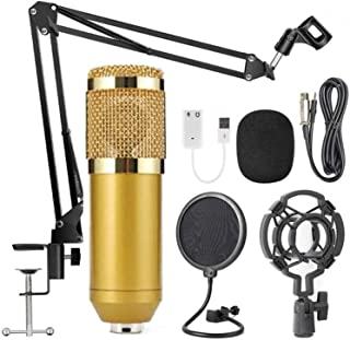 AUSELECT USB Streaming Podcast PC Microphone Gold, SUDOTACK professional 96KHZ/24Bit Studio Cardioid Condenser Mic Kit wit...