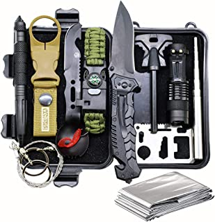 Survival Gear Kit Camping Gear, 12-in-1 EDC Survival Earthquaker Kit, SOS Emergency Tool for Camping, Hiking,Trekking Wild Adventure Earthquake, Unique Gifts for Him Husband Men Dad Boyfriend