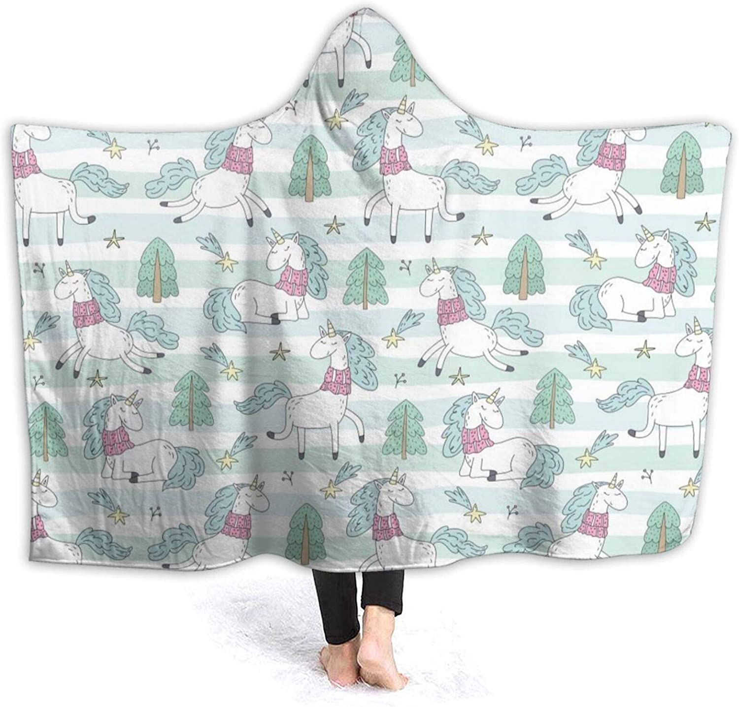 Cute Christmas Character We OFFer at cheap prices Pattern Hooded Flannel Blanket B Over item handling Luxury