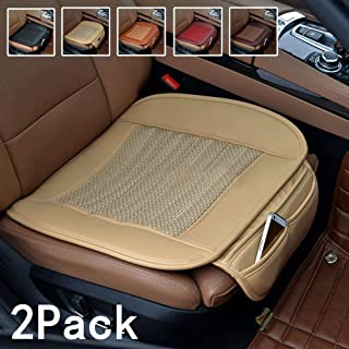 Suninbox Car Seat Covers Front Seats Only,2Pack Bottom Car Seat Pads Cushions for Automobiles,Bamboo Charcoal Universal Leather Car Seat Protector Ventilated Driver seat Cover(2PC Beige Front Seat)