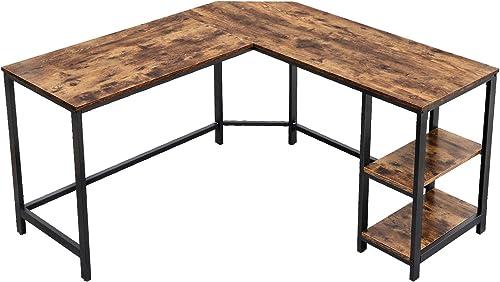VASAGLE L-Shaped Computer Desk, Corner Desk, 54-Inch Writing Study Workstation with Shelves for Home Office, Gaming T...