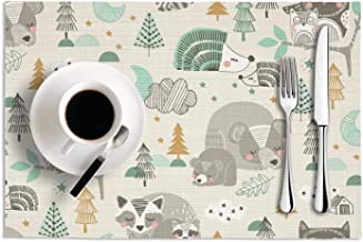 Octayi Placemats Set of 2 Heat Insulation Stain Resistant Placemat for Dining Table Cute Sleepy Fox Bears Owls Crossweave Woven Vinyl Washable Table Mats