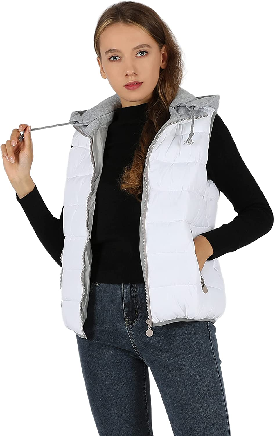 Qiaomai Women's Warm Puffer Vest Zip Up Hooded Sleeveless Quilted Padded Gilet