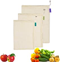Kyerivs Reusable Produce Bags Eco-Friendly Organic Cotton Mesh Bag for Grocery Shopping & Storage Set of 53(1Small - 1Medium - 1Large)