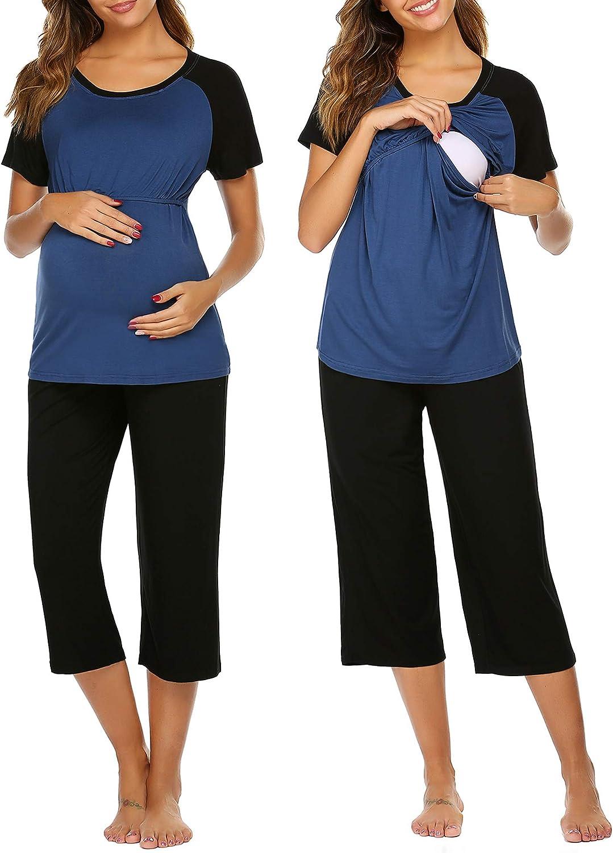 Ekouaer Double Layers Labor/Delivery/Nursing Maternity Pajamas Capri Set Baseball Shirt,Adjustable Size