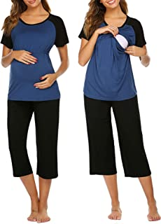 Allence Damen Stillpyjama /Ärmellos Stillpyjama-Umstandspyjama-Schlafanzug Baumwolle Umstands//Still-Schlafanzug mit Stillfunktion Schwarz Grau