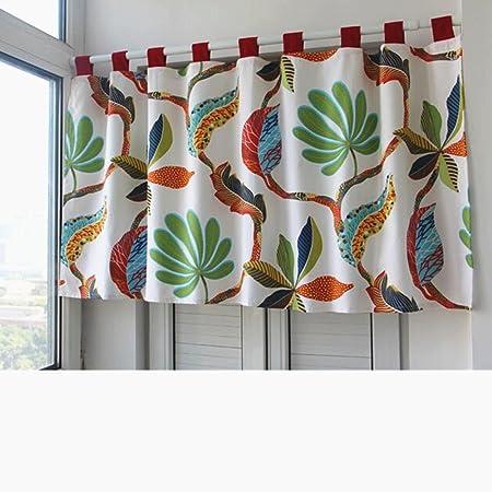 Abreeze Cotton Canvas Half Curtain Kitchen Curtain Valances Short Window Curtain With Colorful Leaf Pattern 55 W X 35 L Home Kitchen
