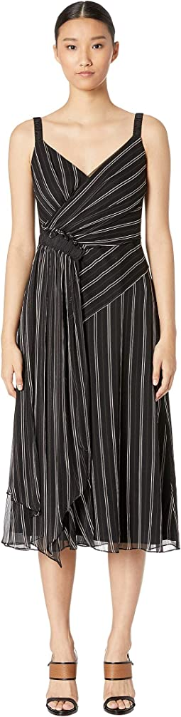 Painterly Stripe Print Ruched Dress