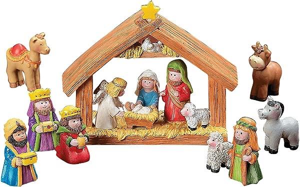 欢乐快车迷你圣诞圣诞套装与耶稣玛丽 · 约瑟夫 · 怀森 9 件装
