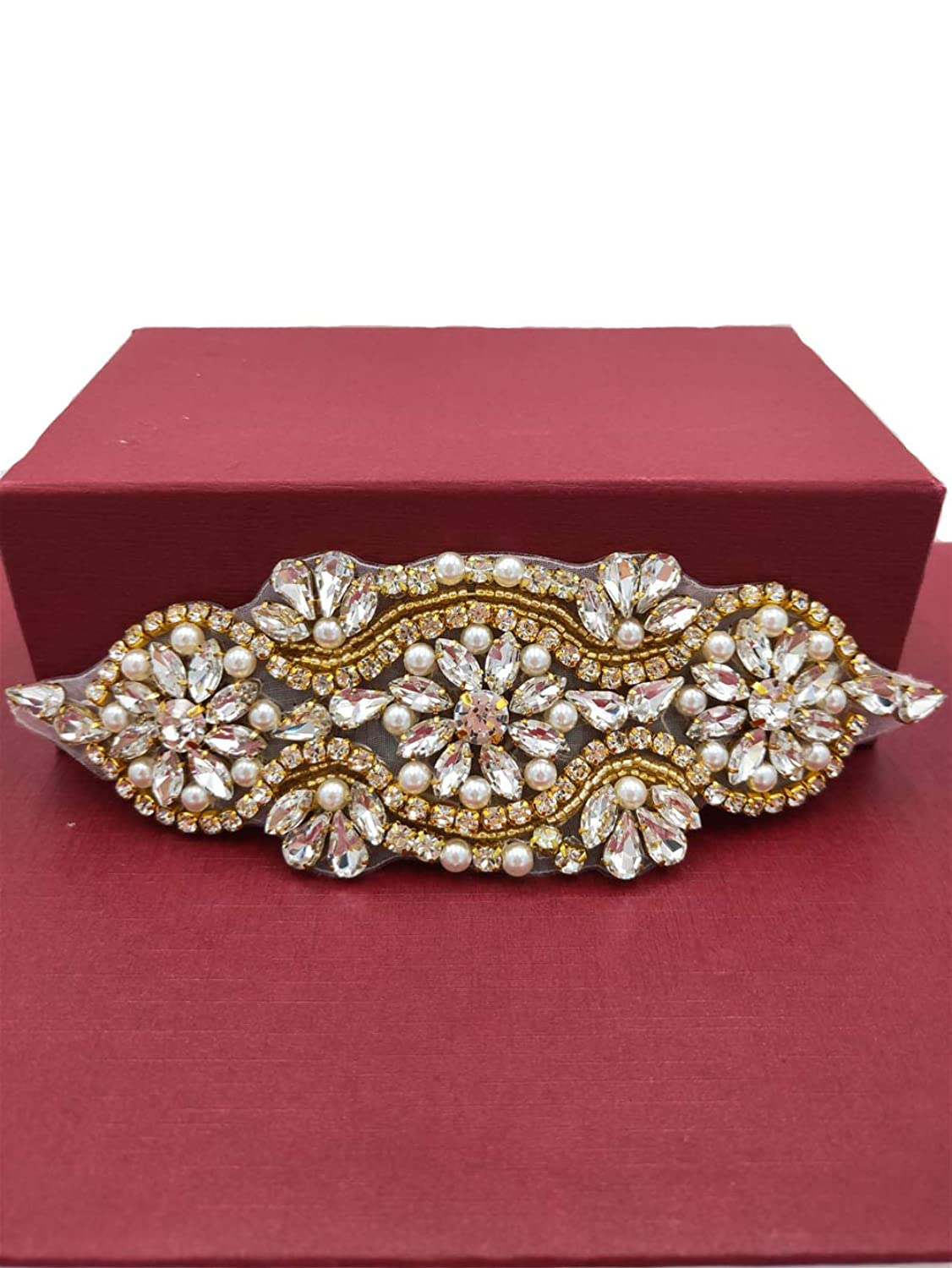 Bridal Beaded Rhinestone Belt Appliques, Small Size Crystal Wedding Applique Sew Iron on Pearl Applique for Women Dress Bridal Ribbon Belt Garter Headpiece Shoes Clothes Decoration