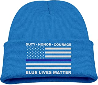 73a232f07fe Kid s Beanie Hat Blue Lives Matter Police Blue Line Us Flag Skull Cap In 4  Colors