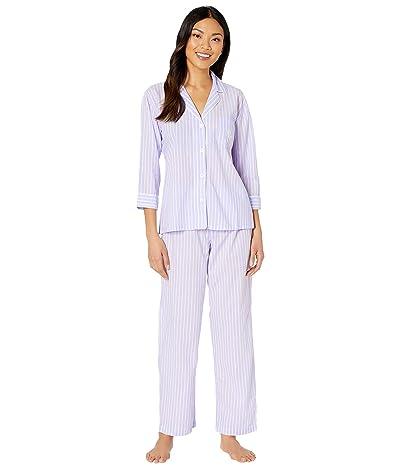 LAUREN Ralph Lauren Classic Wovens 3/4 Sleeve Pointed Notch Collar Long Pants Pajama Set (Lilac Stripe) Women
