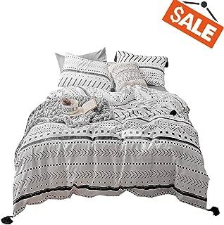VCLIFE Cotton Queen Bedding Sets Duvet Cover Sets Modern Black White Arrow Herringbone Geometric Pattern Comforter Quilt Cover Queen 1 Duvet Cover 2 Pillowcases Hotel Quality Lightweight Durable