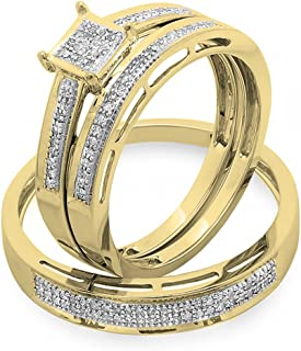 Dazzlingrock Collection 0.18 Carat (ctw) 18K Gold Round Diamond Ladies & Mens His Hers Bridal Engagement Ring Trio Set Band