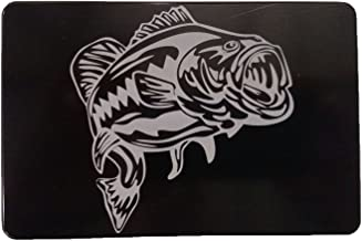 "product image for HMC Billet Large Mouth Bass Aluminum Laser Engraved Trailer Hitch Cover - 3"" x 5"""