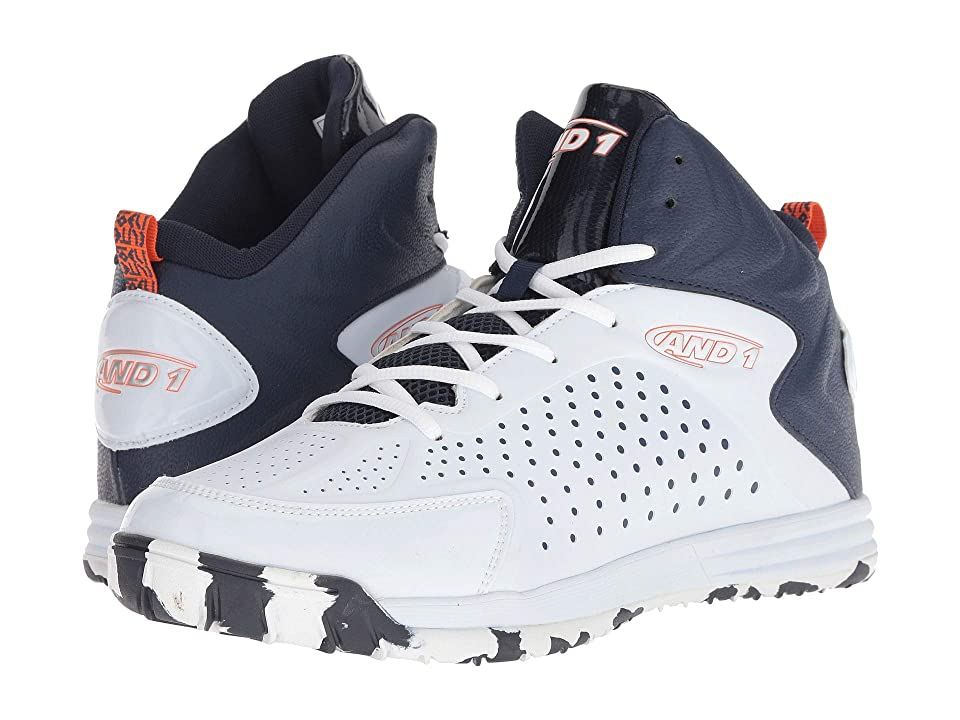 AND1 Tipoff (White/Peacoat/Flame) Men's Basketball Shoes