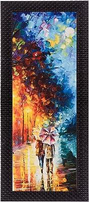 eCraftIndia 'Couple Under Umbrella' UV Art Painting (Synthetic Wood, 18 cm x 41 cm, Matt Texture)