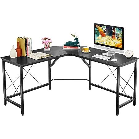 L-Shaped Computer Desk Laptop Study Corner Table Gaming Table Lauraland L Shaped Desk 55 Inch Espresso Workstation for Home Office