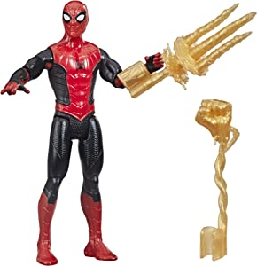 Spider-Man Marvel 6-Inch Mystery Web Gear Upgraded Black and Red Suit Action Figure, Includes Mystery Web Gear Armor Accessory and Character Accessory, Ages 4 and Up