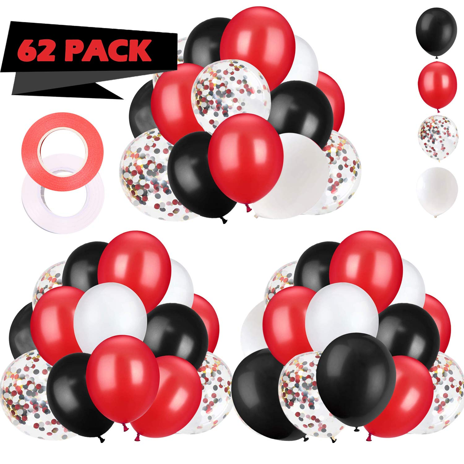 62 Pieces Black Red Confetti Balloons Kit 12 Inches White With Balloon Ribbon For Baby Shower Birthday Quinceanera Graduation Party Decorations Supplies Buy Online In Dominica At Desertcart Com