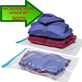 Walla Essentials 9 Compression Bags for Travel and Storage for Clothes – Easy to Use - Roll Up Space Saver Bags – No Vacuum or Pump Needed - Reusable - Plastic Packing Sacks