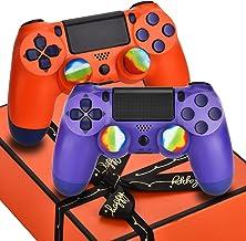 AUGEX Controlador inalámbrico compatible con P – 4 con 2 paquetes de cables y 4 tapas arco iris con dos motores/almohadilla táctil/auriculares estéreo Jack (Sunset Purple)