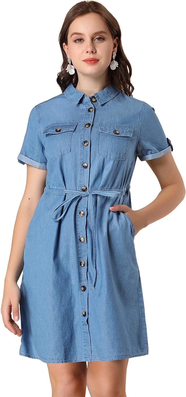 Allegra K Women's Jean Dresses Drawstring Waist Summer Casual Button Down Denim Dresses