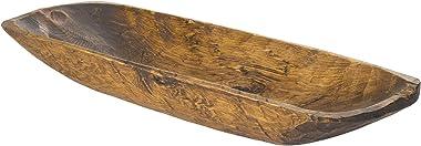 Luxury Living Furniture Regular Hand-Carved Rustic Wooden Decorative Bowl, Pecan