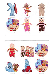 12 x In The Night Garden NEW - Fun Novelty Birthday PREMIUM STAND UP - Edible Wafer Card Cake Toppers Decorations