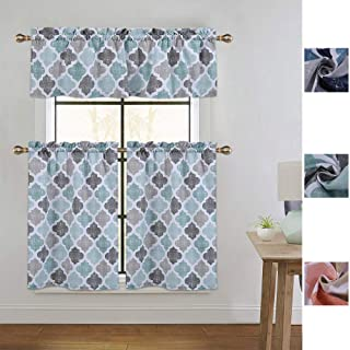 CAROMIO Cafe Curtains 36 Inch Length with Valance, Quatrefoil Trellis Printed Cotton Blend Short Farmhouse Kitchen Curtains Bathroom Window Curtains, Aqua/Mint/Grey