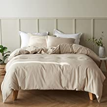 """Simple&Opulence French Linen Duvet Cover Set - Full Size(78"""" x 86"""")- 3 Pieces (1 Comforter Cover,2 Pillowcases)- Natural F..."""