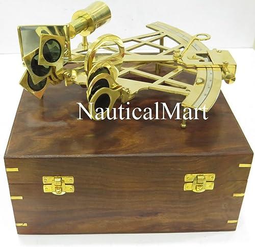 NauticalMart Nautique 25,4cm Laiton Sextant avec Maritime Boîte en Bois
