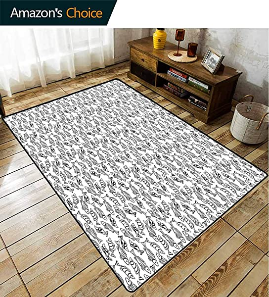 Fishes Polka Dot Anti Skid Rugs Subaqueous Animals In Monochrome Pattern Doodle Sketch Style Maritime Theme Drawing Durable Carpet Area Rug Living Dinning Room Bedroom Rugs And Carpets 5 X 8
